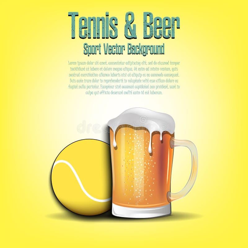 Tenisowa piłka z kubkiem piwo royalty ilustracja