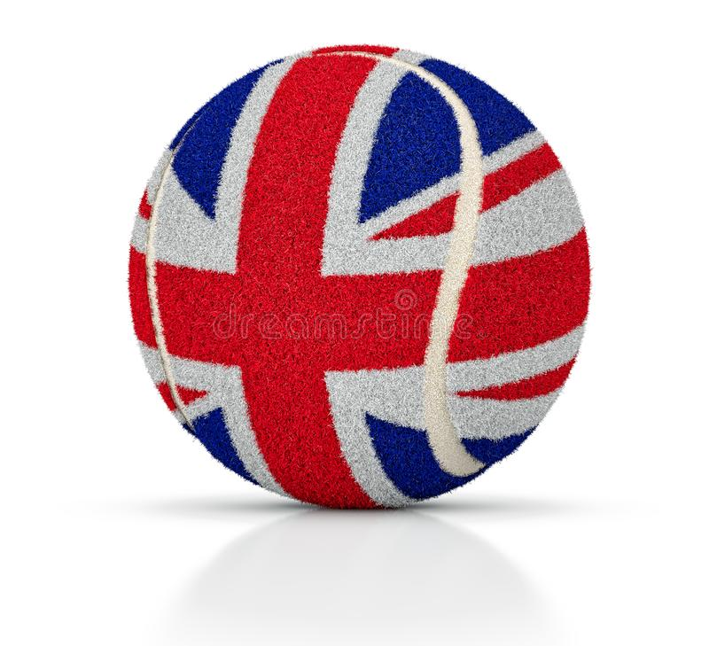 Tenisowa piłka z teksturą flaga Wielki Brytania, tenisowa piłka Zjednoczone Królestwo, 3D ilustracja ilustracja wektor
