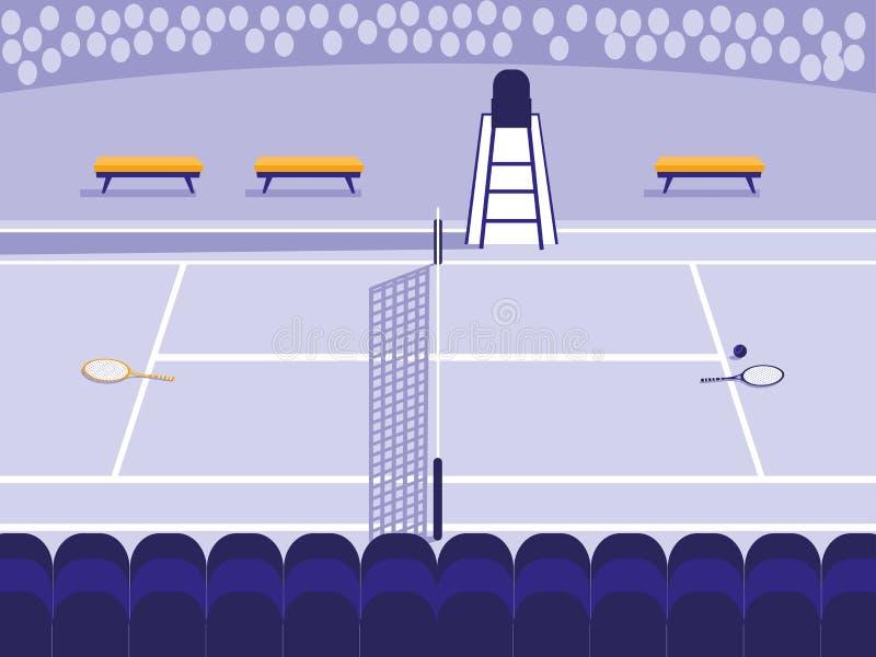 Tenisowa sporta sądu scena ilustracja wektor