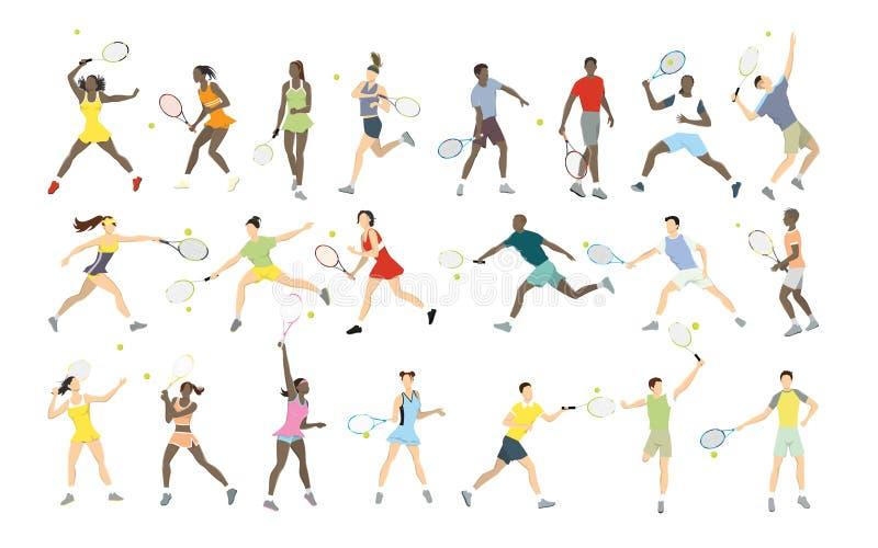 Tenisowe atlety ustawiać royalty ilustracja