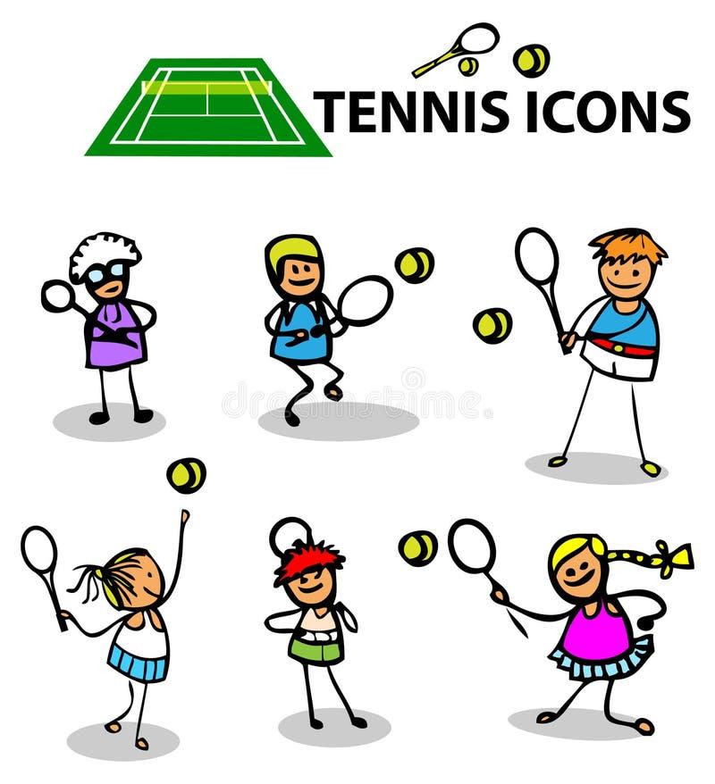 Tenisowe ikony bawją się emblematy, wektorowa ilustracja ilustracji