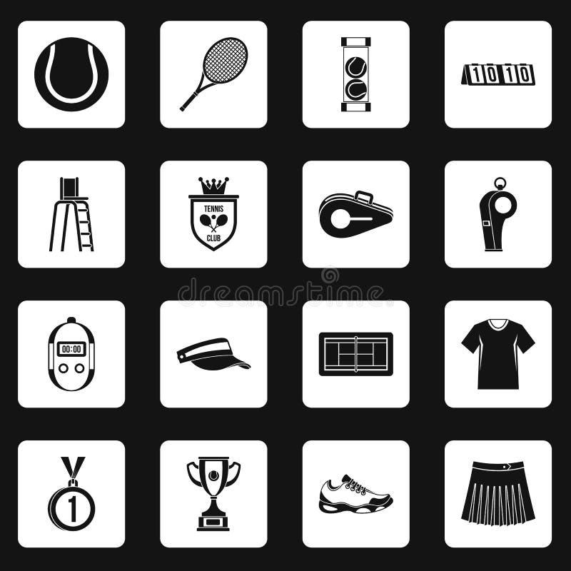 Tenisowe ikony ustawiający kwadraty wektorowi royalty ilustracja