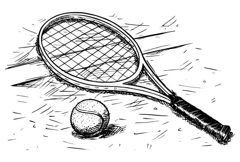 Tenisowego kanta i piłki ręki Wektorowy rysunek royalty ilustracja
