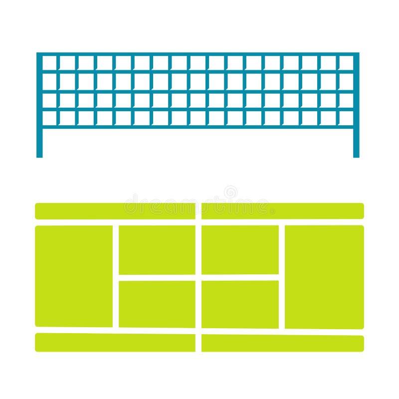 Tenisowego sądu i divider netto wektorowe ikony ilustracji
