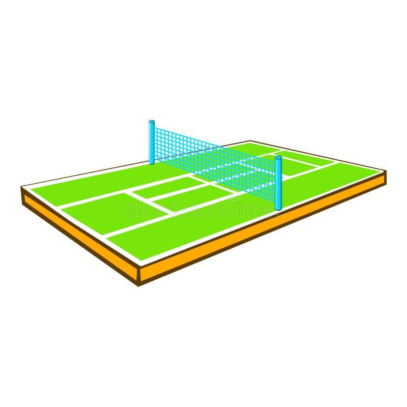 Tenisowego sądu ikona, kreskówka styl ilustracja wektor