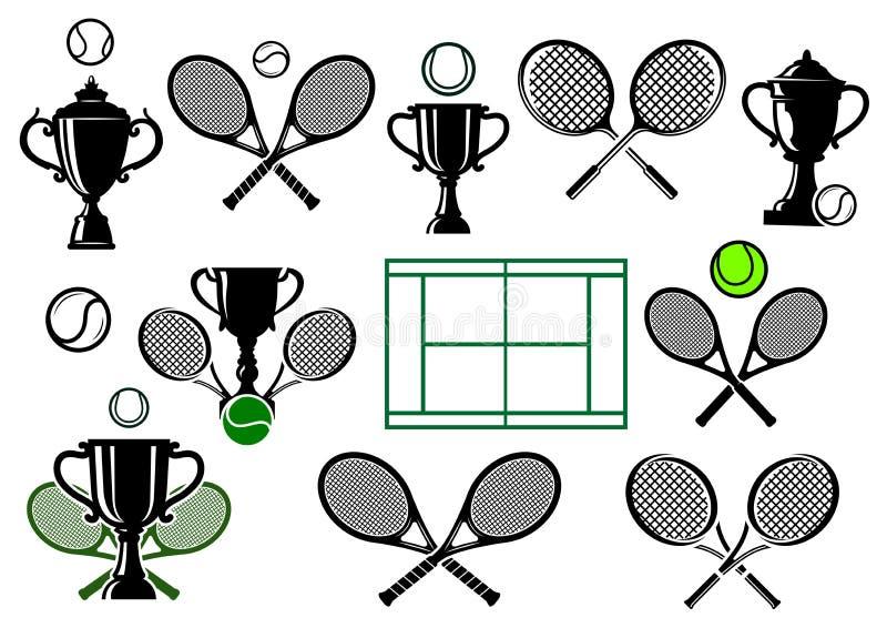 Tenisowego turnieju ikony ilustracja wektor