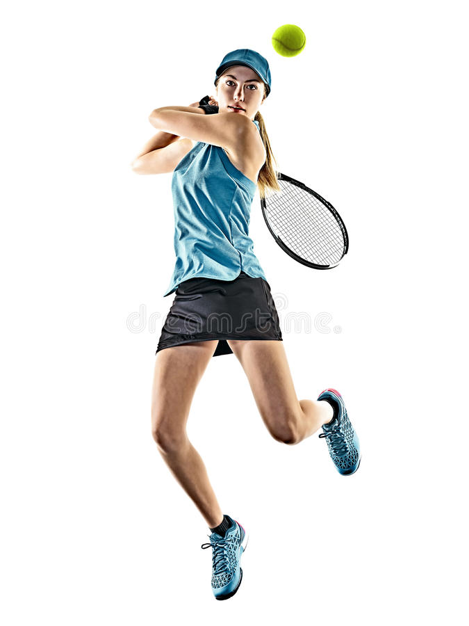Tenisowej kobiety odosobniona sylwetka zdjęcia royalty free
