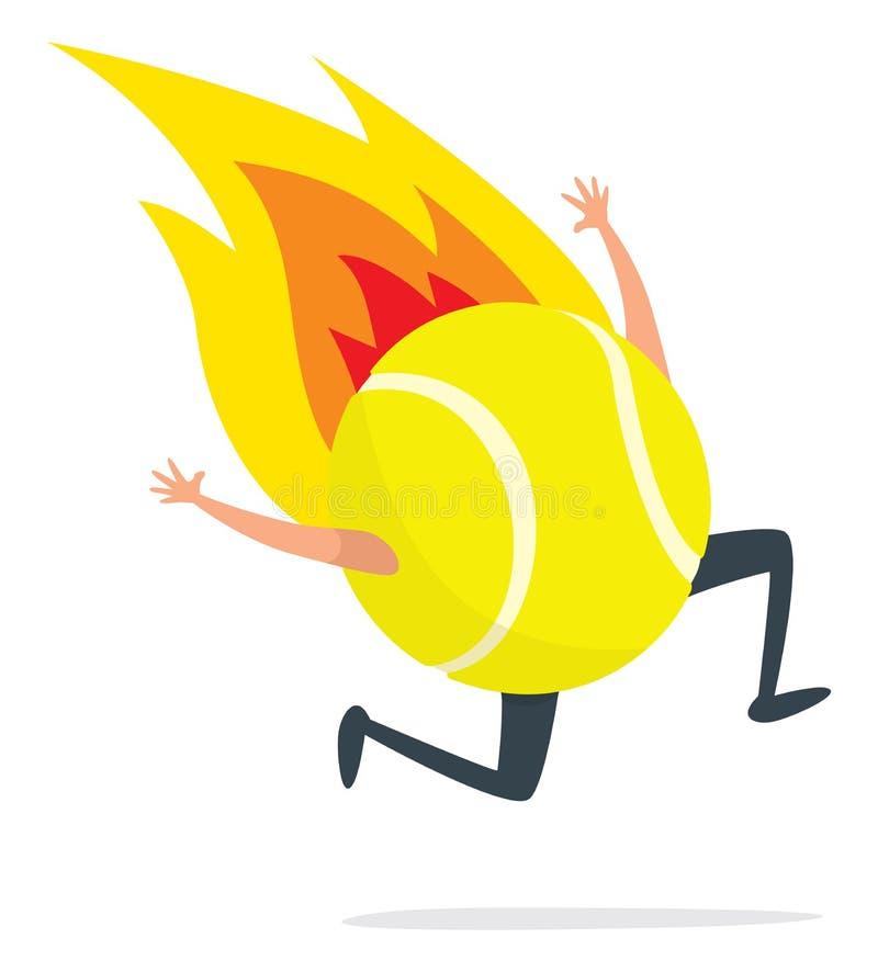 Tenisowej piłki bieg na ogieniu royalty ilustracja