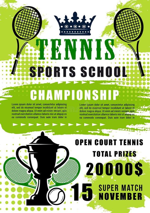 Tenisowej sport szkoły otwarty dopasowanie, wektor royalty ilustracja