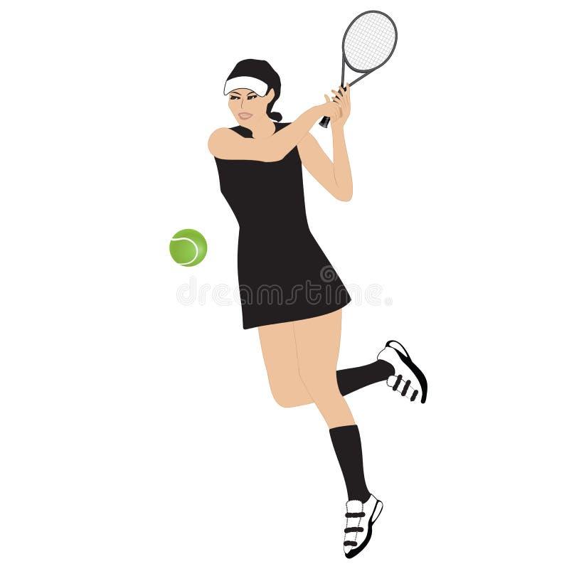 Tenisowej sportsmenki balowy kant odizolowywał białą tło wektoru ilustrację obrazy royalty free