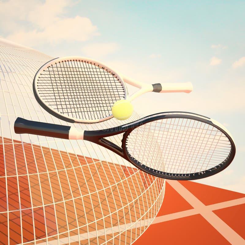 Tenisowi kanty, piłka, tenisowy sąd i bławy niebo, ilustracji