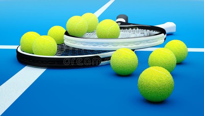Tenisowi kanty z piłkami na ciężkiej powierzchni sądzie zdjęcia stock