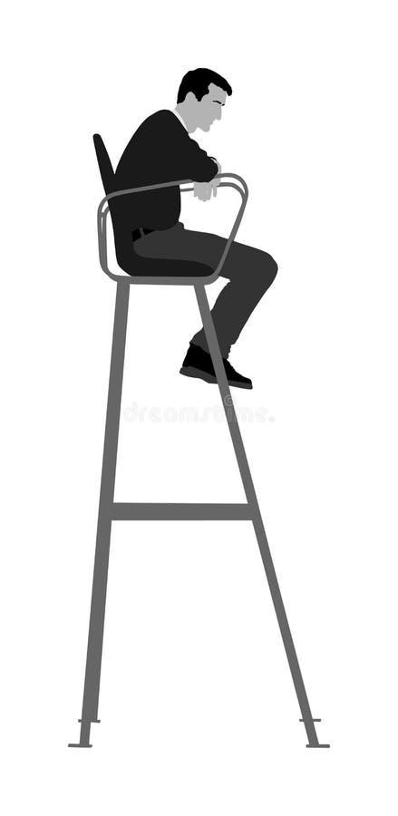 Tenisowy arbiter w krzesło wektorze odizolowywającym na białym tle Ratowniczy mężczyzna Ratownika mężczyzna na wierza stacji zega royalty ilustracja