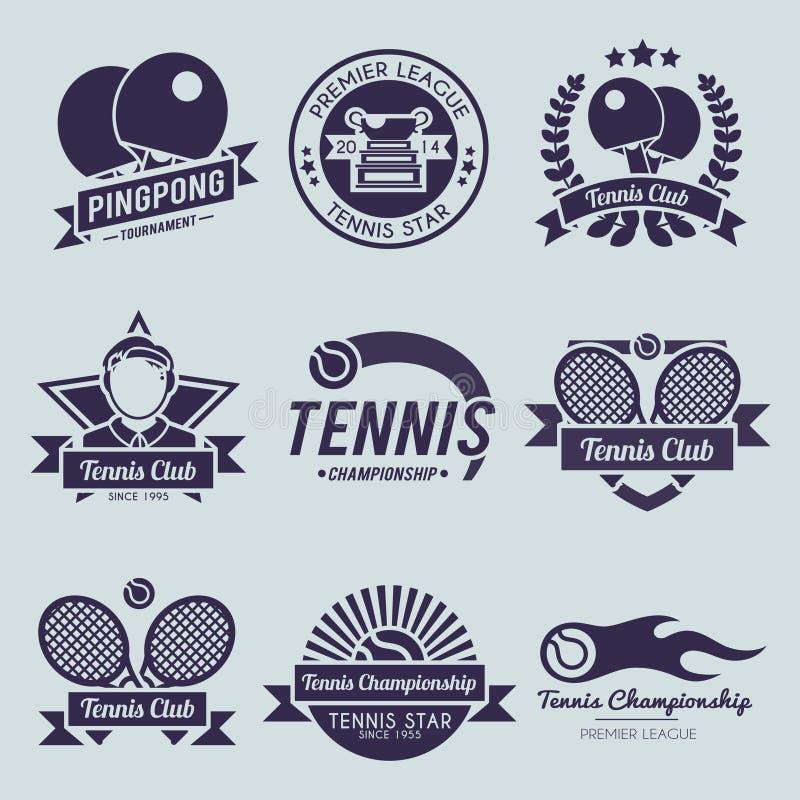 Tenisowy etykietki czerń ilustracji