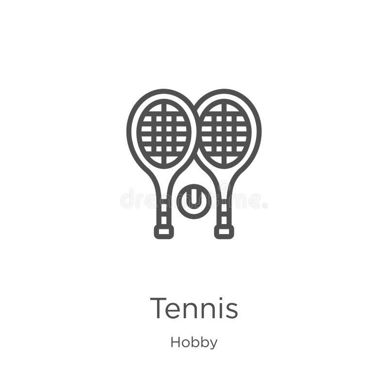 tenisowy ikona wektor od hobby kolekcji Cienka kreskowa tenisowa kontur ikony wektoru ilustracja Kontur, cienieje kreskową teniso royalty ilustracja