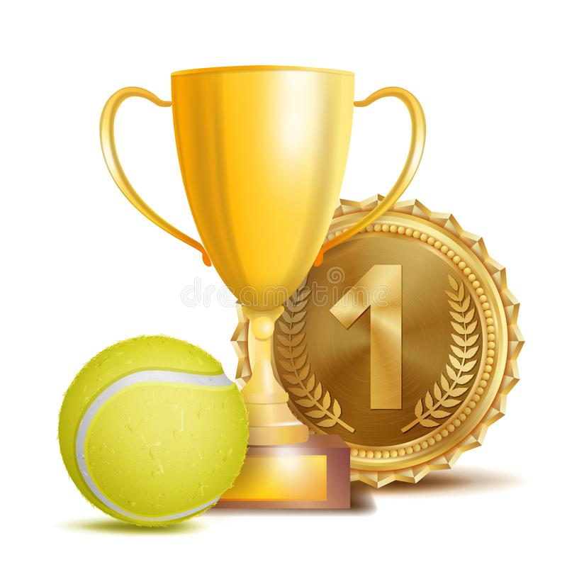 Tenisowy nagroda wektor Sporta sztandaru tło Żółta piłka, Złocista zwycięzcy trofeum filiżanka, Złoty 1st miejsce medal 3D Realis ilustracji