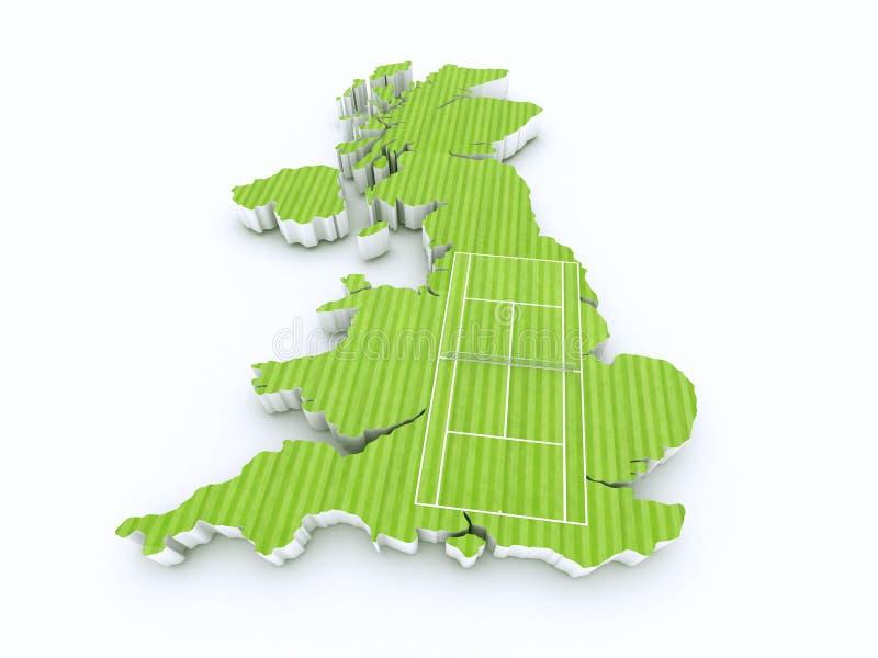 Tenisowy sąd na 3d Britain ilustracji