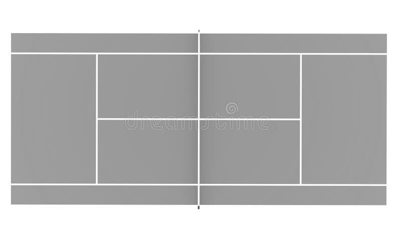 Tenisowy sąd odpłacający się odizolowywającym na białym tle ilustracji