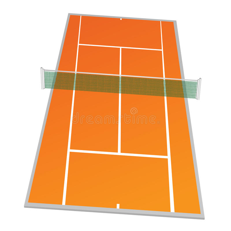 Tenisowy sąd w pomarańczowej kolor ilustraci royalty ilustracja