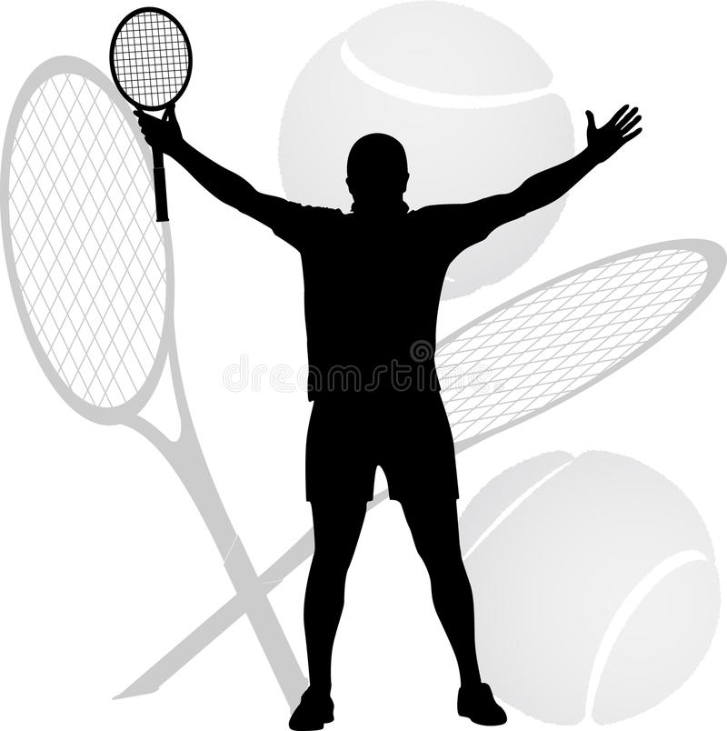 Tenisowy zwycięzca podnosił jego ręki obraz royalty free