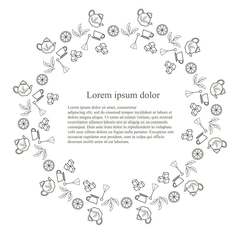 Tenmplate rond de bannière de typographie pour le thé, lorem ipsum, ligne illustration de vecteur d'actions de conception Pot mon illustration stock