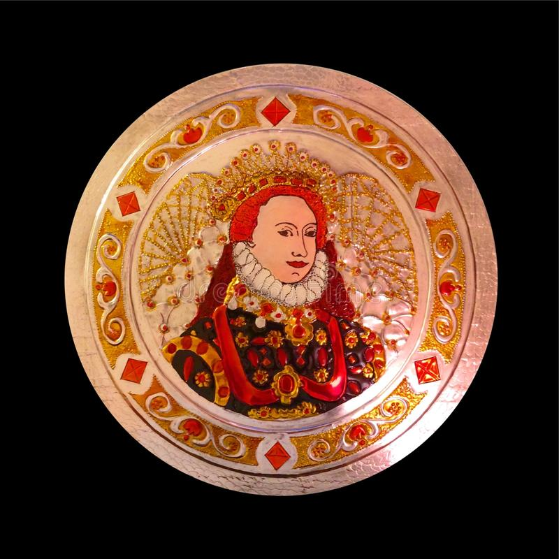Tenn Art Portrait av drottningen Elizabeth Tudor royaltyfria bilder