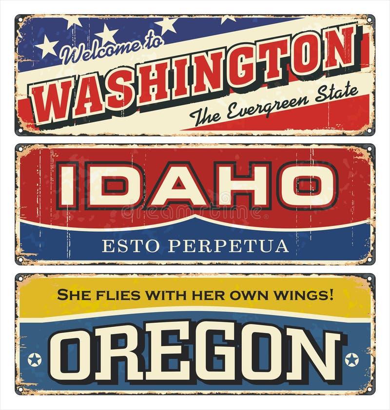 Tenn- teckensamling för tappning med den Amerika staten washington idaho oregon Retro souvenir eller vykortmallar på rostbackgrou stock illustrationer
