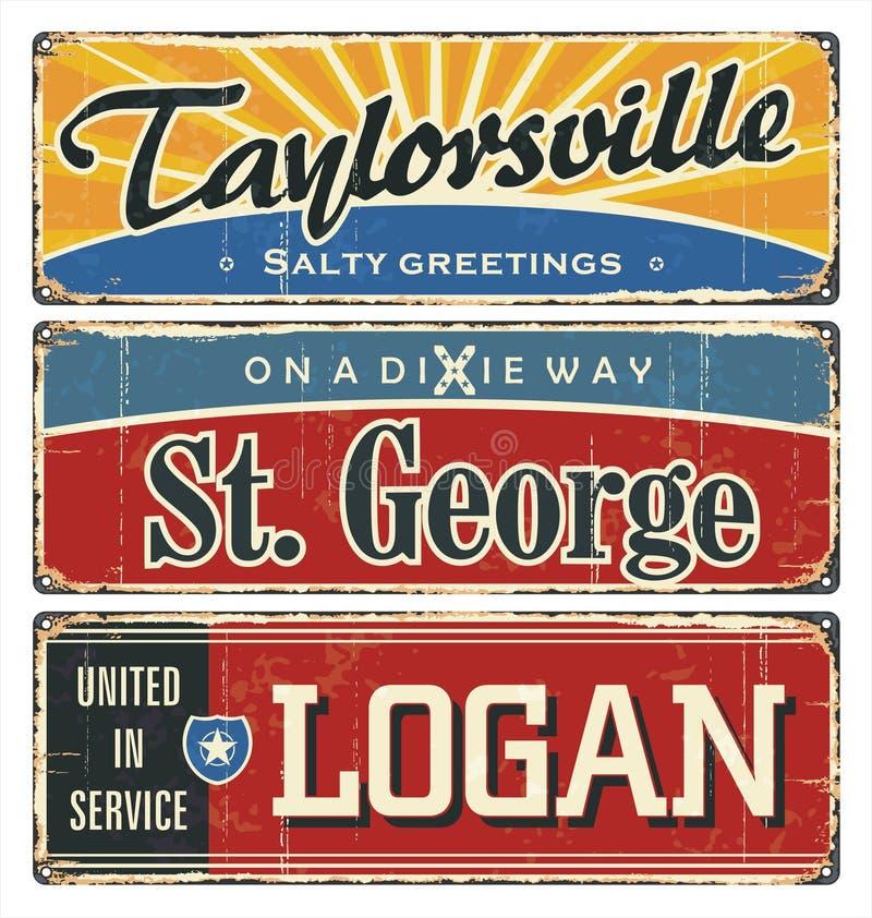 Tenn- teckensamling för tappning med USA städer Turist- destination överkant tio Stad _ Retro souvenir eller vykortmallar på vektor illustrationer