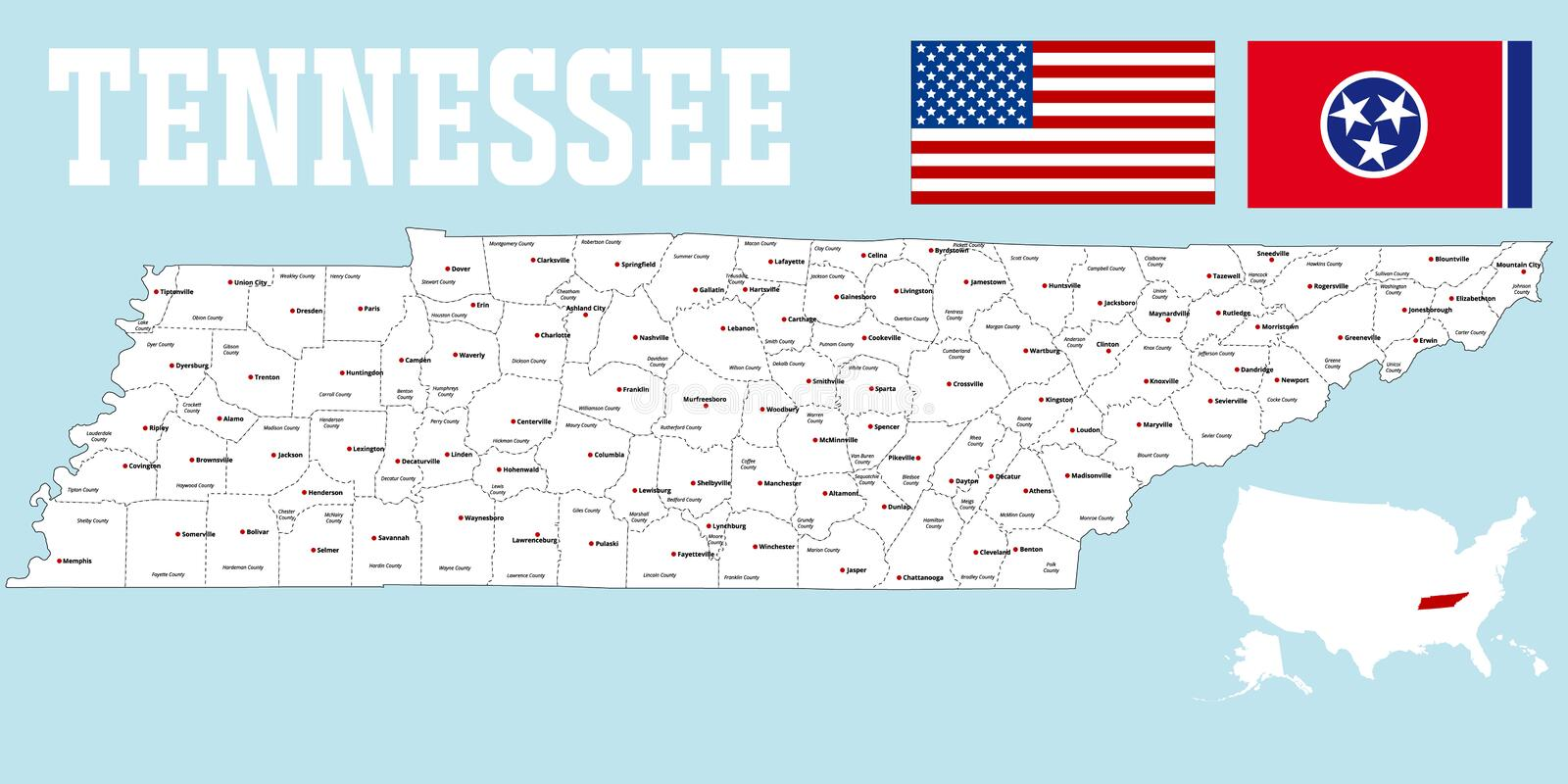 Tennessee county map stock vector Illustration of administration