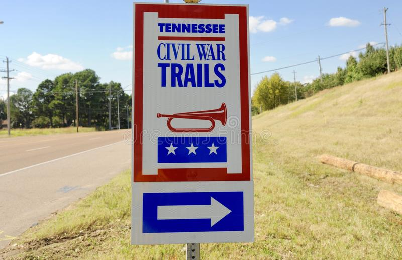 Tennessee Cywilnej wojny śladów znak zdjęcie stock