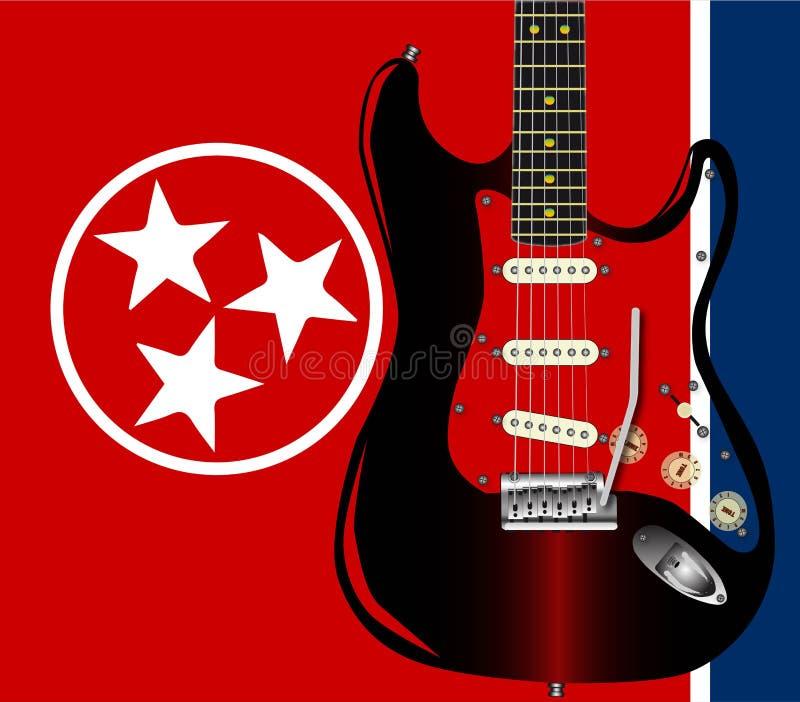 Tennessee Guitar Flag royalty-vrije illustratie
