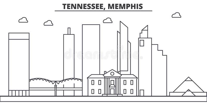 Tennessee, Memphis architektury linii linii horyzontu ilustracja Liniowy wektorowy pejzaż miejski z sławnymi punktami zwrotnymi,  royalty ilustracja