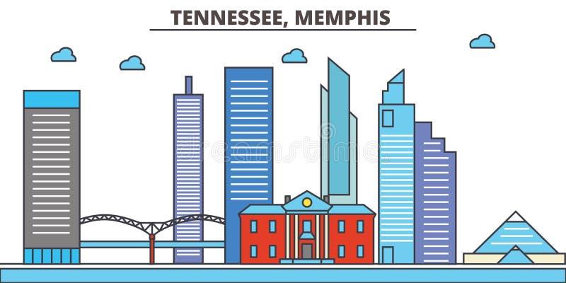 Tennessee, Memphis De Horizon van de stad royalty-vrije illustratie