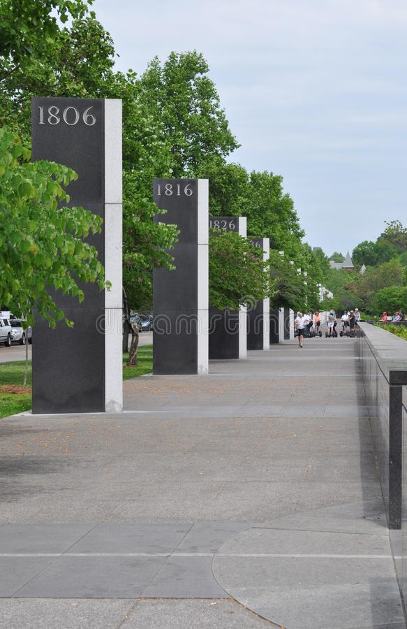 Tennessee Pathway of History. Row of columns surrounding Bicentennial Mall State Park that signify Tennessees history 1806 1816 1826 royalty free stock images