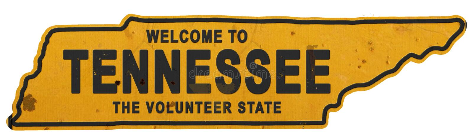Tennessee Roadsign Welcome a Tennessee Sign State Shape imagem de stock royalty free