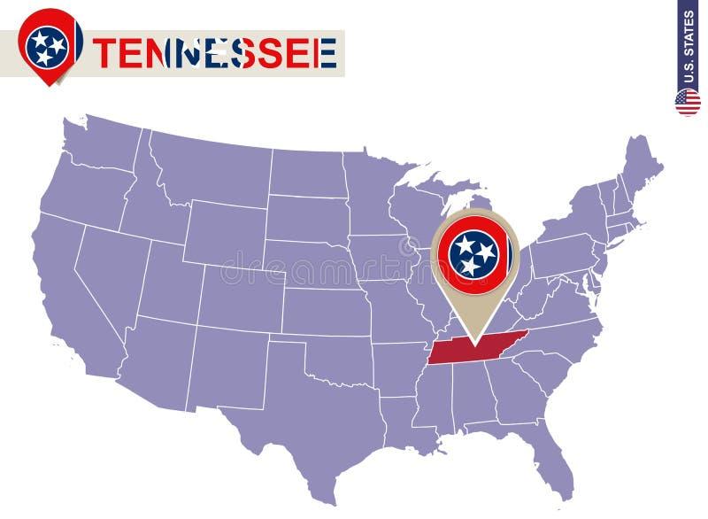 Tennessee State på USA översikten Tennessee flagga och översikt stock illustrationer