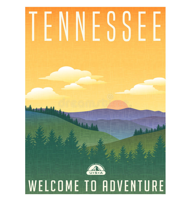 Tennessee, United States travel poster royalty free illustration