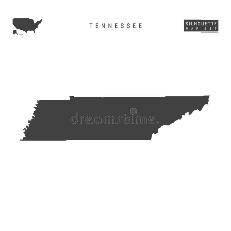 Tennessee US State Vector Map Isolated on White Background. High-Detailed Black Silhouette Map of Tennessee royalty free illustration