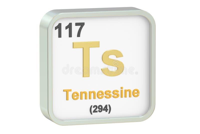 Tennessine chemical element, 3D rendering stock illustration