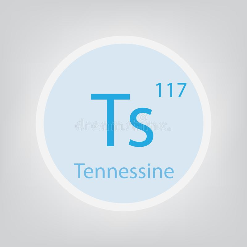 Tennessine Ts chemical element icon stock illustration