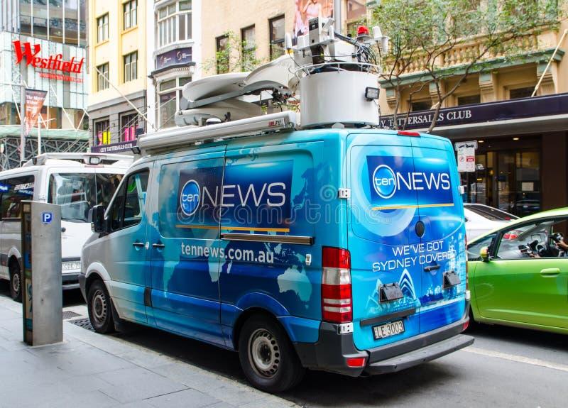 Tennews en dehors de fourgon de radiodiffusion à Sydney du centre image stock