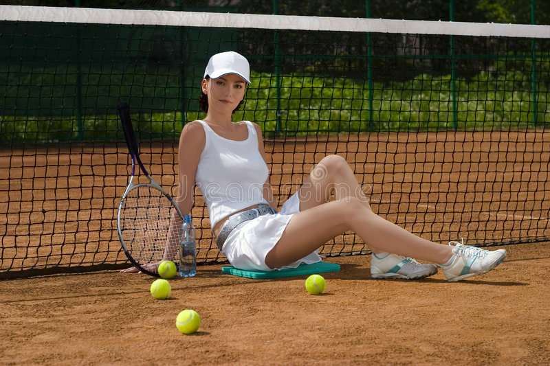 Tennis 10. Girl has a rest after tennis royalty free stock images