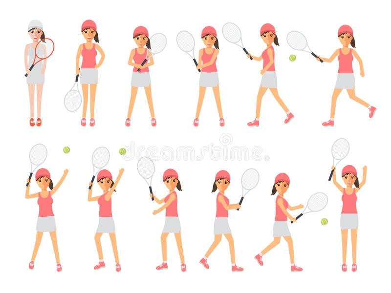 Tennis, atleti di sport di tennis nelle azioni illustrazione vettoriale
