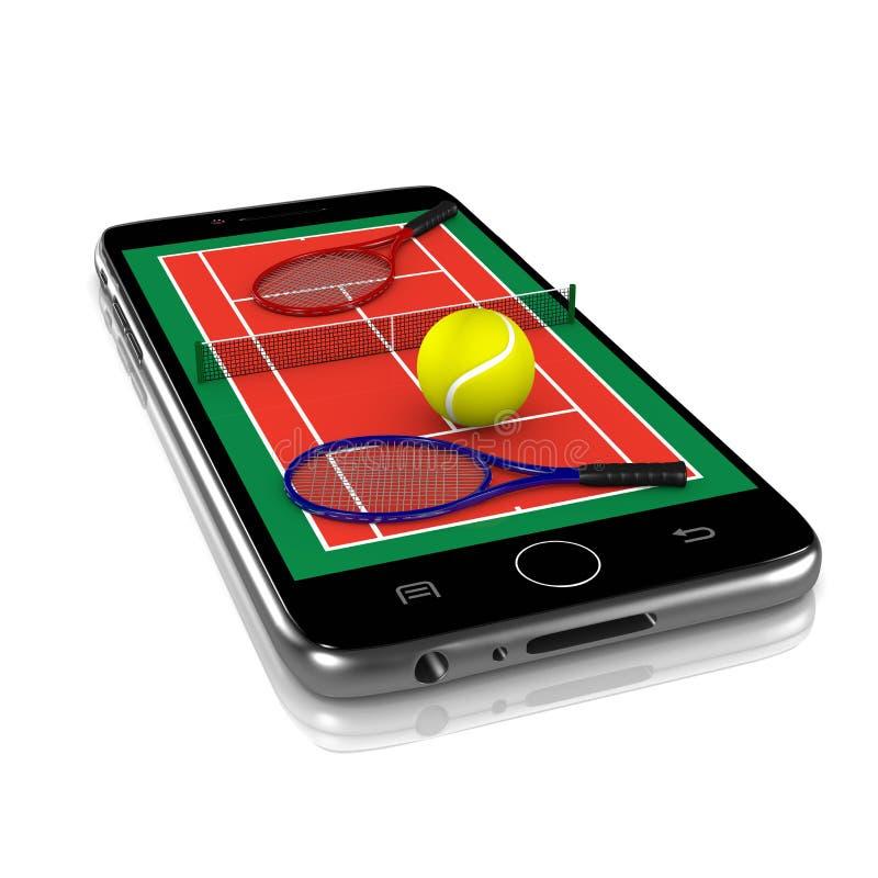 Tennis auf Smartphone, Sport-APP vektor abbildung