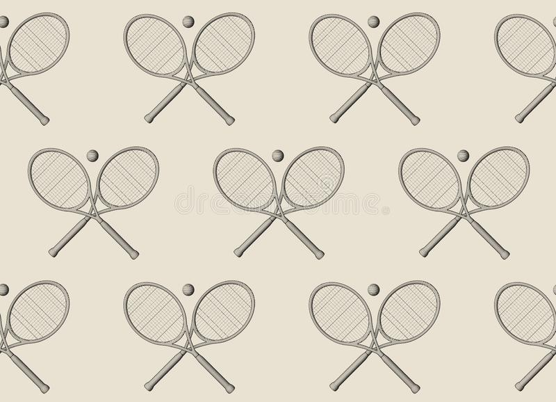 Tennis background. Seamless pattern sketch style tennis racquet with tennis balls. stock image
