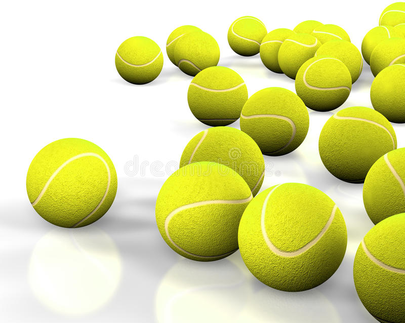 Tennis ball. 3d image of several tennis ball isolated in white royalty free stock image