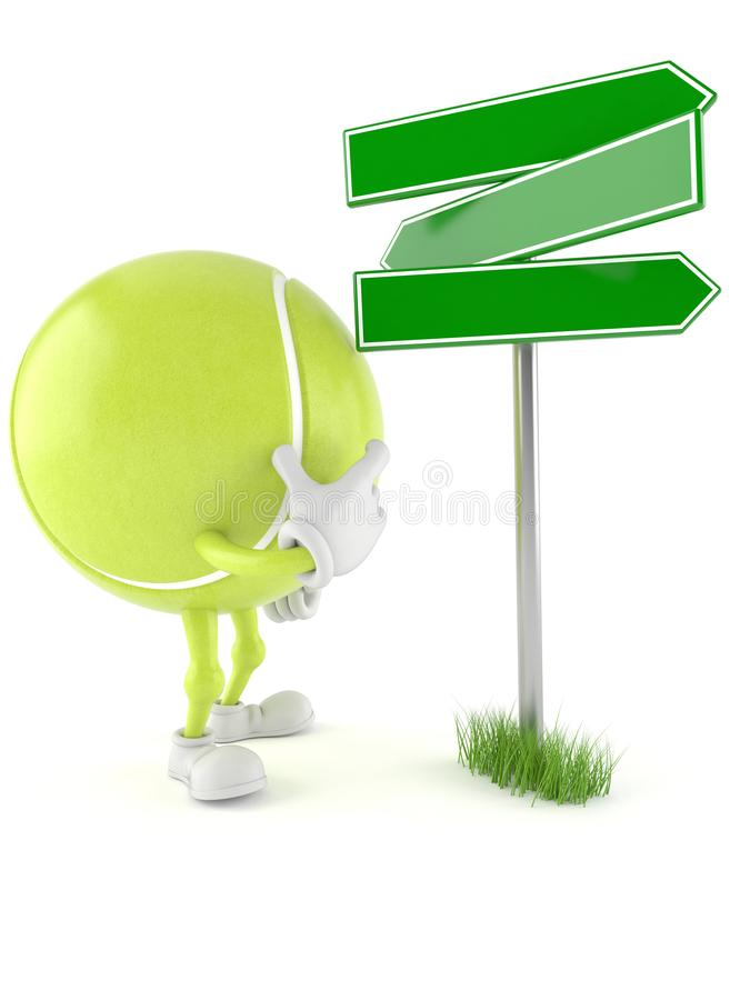 Tennis ball character with blank signpost. Isolated on white background vector illustration