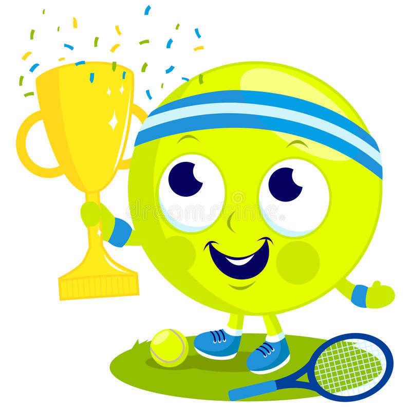 tennis ball character champion cheering and holding cup. Black Bedroom Furniture Sets. Home Design Ideas