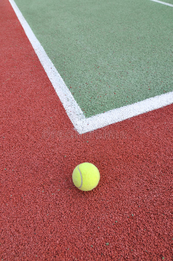 Tennis Ball On A Court Stock Image