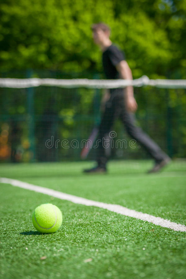 Tennis ball on the court stock image